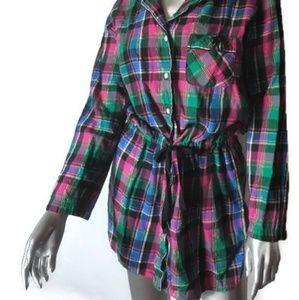 VICTORIA'S SECRET Plaid Sleep Shirt Dress Sz XS